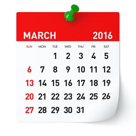 Maart 2016 - Kalender. Geïsoleerd op een witte, Achtergrond. 3D Rendering