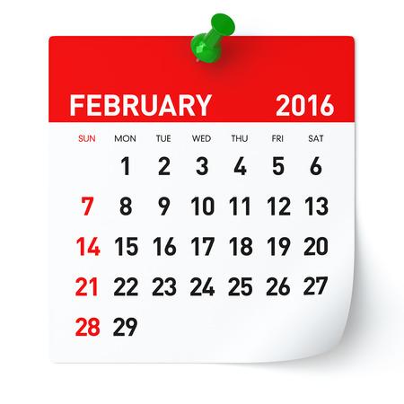 Februari 2016 - Agenda. Geïsoleerd op een witte, Achtergrond. 3D Rendering