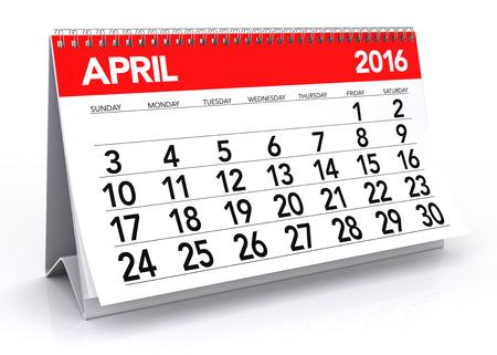 kalendarz: Kwietnia 2016 Kalendarz. Pojedynczo na białym tle. 3D Rendering