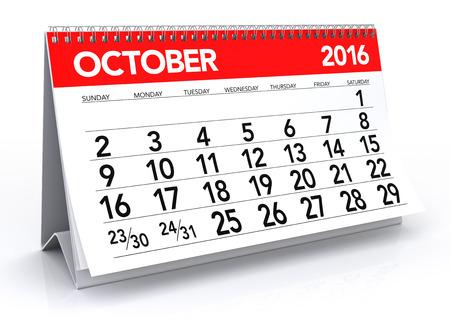calendar october: October 2016 Calendar. Isolated on White Background. 3D Rendering