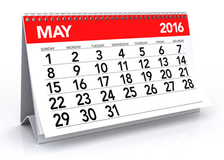 may: May 2016 Calendar. Isolated on White Background. 3D Rendering Stock Photo