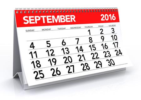 espiral: September 2016 Calendar. Isolated on White Background. 3D Rendering