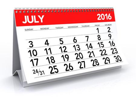 Juli 2016 Calendar. Geïsoleerd op een witte achtergrond. 3D Rendering