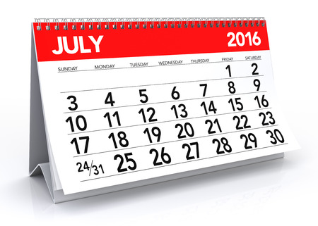 July 2016 Calendar. Isolated on White Background. 3D Rendering