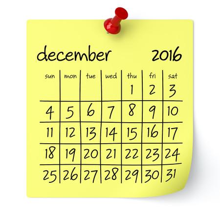 calendario diciembre: De diciembre de 2016 - Calendario, aislado en blanco, fondo. Representaci�n 3D
