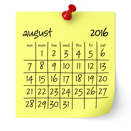 August 2016 - Calendar, Isolated on White, Background. 3D Rendering Stock Photo