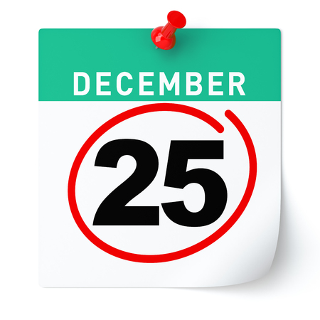 calendar isolated: December 25, Christmas calendar. Isolated White Background. Stock Photo