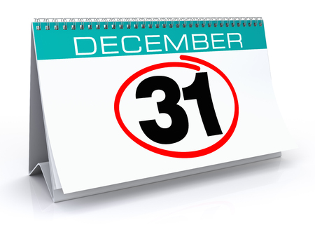 December 31 calendar. Isolated White Background.