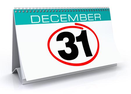 calendar isolated: December 31 calendar. Isolated White Background.