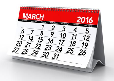 kalendarz: Marzec 2016 Kalendarz. Pojedynczo na białym tle. 3D Rendering