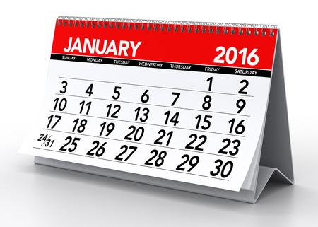 Januari 2016 Calendar. Geïsoleerd op een witte achtergrond. 3D Rendering