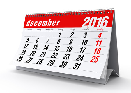 December 2016 Calendar. Isolated on White Background. 3D Rendering Stock Photo
