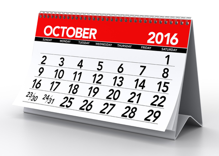 October 2016 Calendar. Isolated on White Background. 3D Rendering