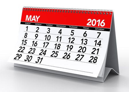 calendar day: May 2016 Calendar. Isolated on White Background. 3D Rendering Stock Photo