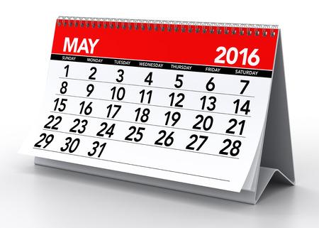 calendario: Mayo 2016 Calendario. Aislado en el fondo blanco. Representaci�n 3D