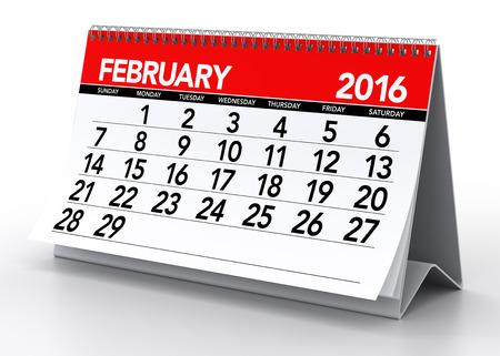 kalendarz: February2016 Kalendarz. Pojedynczo na białym tle. 3D Rendering