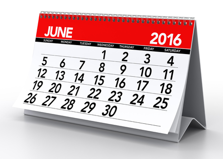 June 2016 Calendar. Isolated on White Background. 3D Rendering
