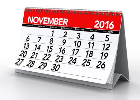 November 2016 Calendar. Isolated on White Background. 3D Rendering Stock Photo