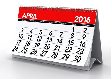 meses del a�o: 04 2016 Calendario. Aislado en el fondo blanco. Representaci�n 3D