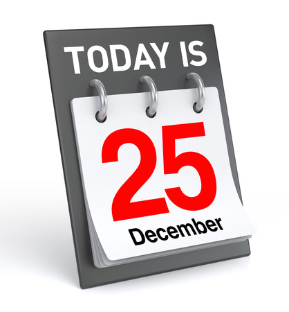 december: December 25, computer generated image. 3D Rendering Stock Photo