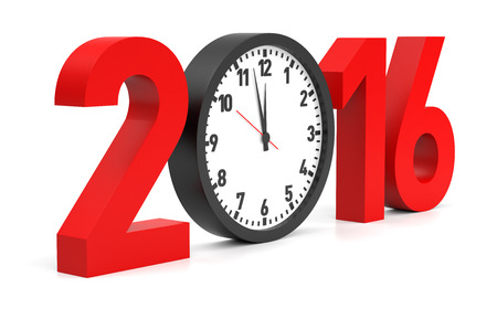 New Year 2016 Illustration with clock. Isolated white background.