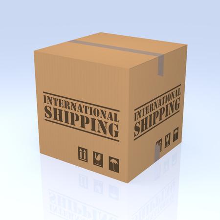 degrade: International Shipping Cardboard Box, 3D rendering. Isolated blue degrade background.
