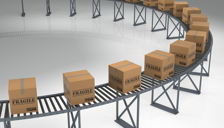 conveyer: Fragile Cargo Boxes on a Conveyer Belt. 3D rendering