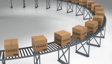 conveyer: Fragile Cargo Boxes on a Conveyer Belt. 3D rendering