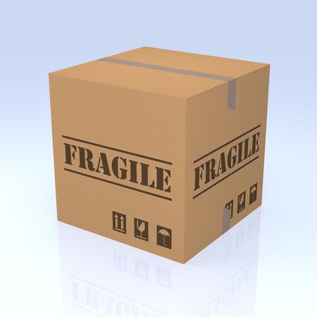degrade: Fragile Cardboard Box, 3D rendering. Isolated blue degrade background. Stock Photo