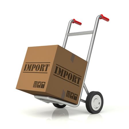 package sending: Hand Truck and Import Cardboard Box, 3D rendering