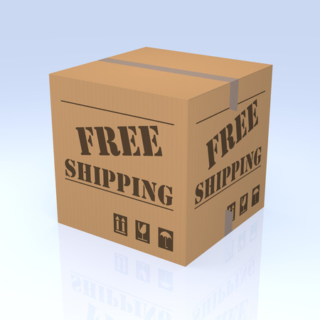 degrade: Free Shipping Cardboard Box, 3D rendering. Isolated blue degrade background.