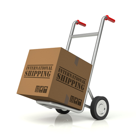 hand truck: Hand Truck and International Shipping Cardboard Box, 3D rendering Stock Photo