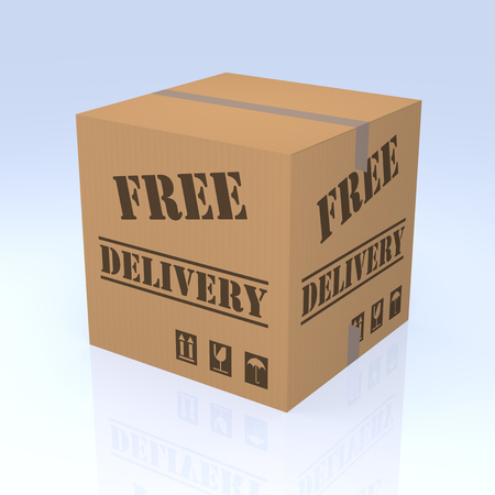 commercial activity: Free Delivery Cardboard Box, 3D rendering. Isolated blue degrade background.