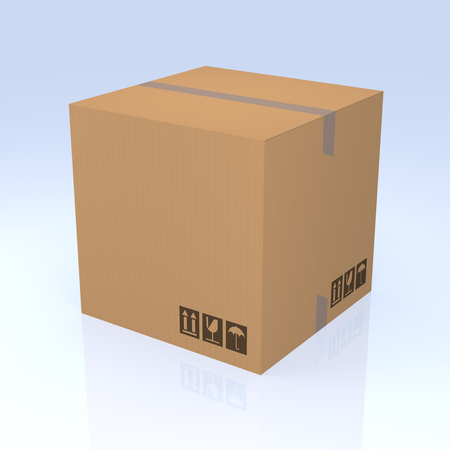 commercial activity: Cardboard box isolated on blue background. 3D Rendering Stock Photo