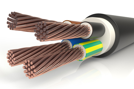 Triphasic Power Cable Wires 3D Standard-Bild