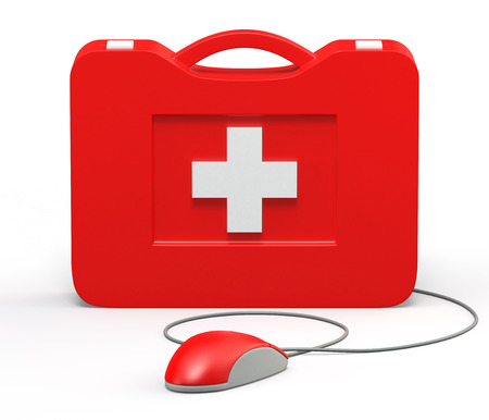 whithe: Computer First Aid Kit. Isolated On White Background.