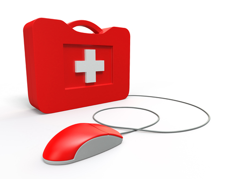 electrical part: Computer First Aid Kit. Isolated On White Background.