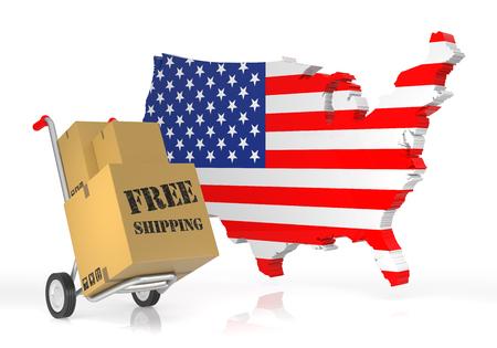 Gratis verzending met USA Map. 3D-rendering Stockfoto