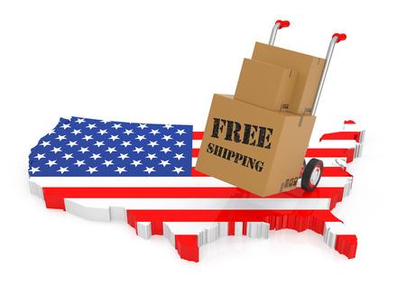 Envío gratis con EE.UU. mapa. representación 3D Foto de archivo - 46807494