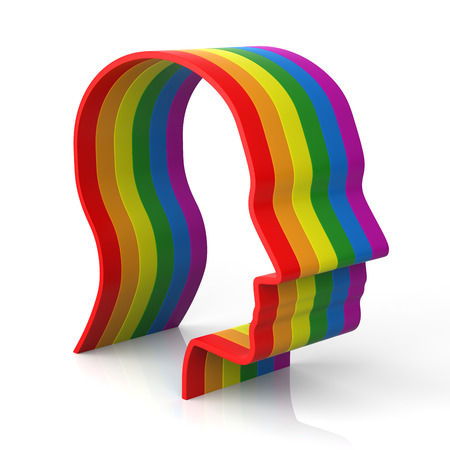 3d rainbow: Man head shape with rainbow flag which symbolizes gay pride and diversity.
