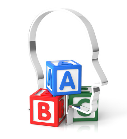 practice primary: Mind and ABC. Isolated, White Background. 3D rendering.