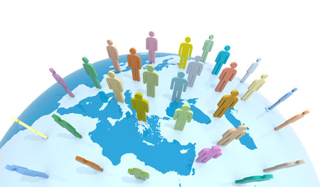reconciliation: Global Communication. 3D Rendering. Isolated white background. Stock Photo