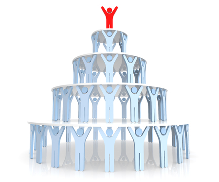 human pyramid: Teamwork. Human Pyramid. 3D Rendering. Isolated white background.