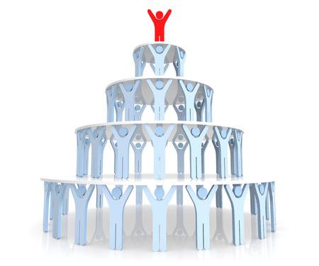 piramide humana: Trabajo en equipo. Pirámide humana. Rendering 3D. Fondo blanco aislado. Foto de archivo