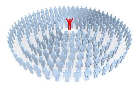 3d human: Feel The Success. Business People and Human Resources. 3D Rendering
