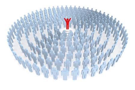 recursos humanos: Siente el éxito. La gente de negocios y de Recursos Humanos. Representación 3D Foto de archivo