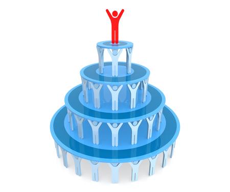 human pyramid: Trabajo en equipo. Pirámide humana. Rendering 3D. Fondo blanco aislado. Foto de archivo
