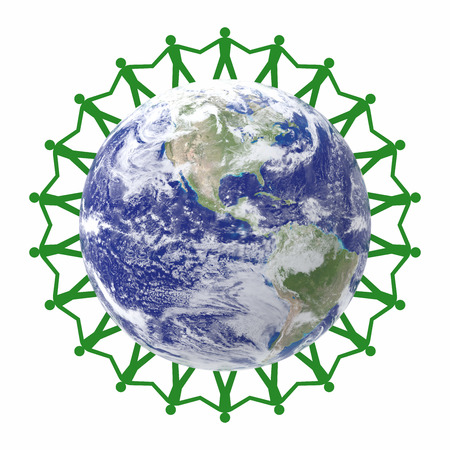 paper chain: Paper Chain Green People Around The World Stock Photo