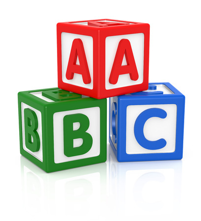alphabetical order: ABC letters made from baby toys, Color blocks with alphabet letters.