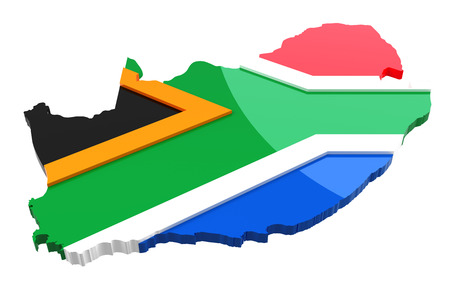 national landmark: South Africa - Map and Flag Stock Photo
